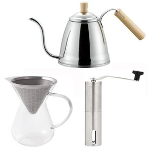 コーヒーセット やかん おしゃれ  コーヒーポット1.2L/コーヒーミル/コーヒーサーバー  ステン...