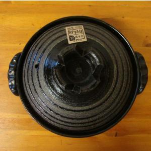 IH対応土鍋 黒釉ラインIH土鍋 9号 日本製(土鍋・IH土鍋・家鍋・日本製・セール)|yakanya