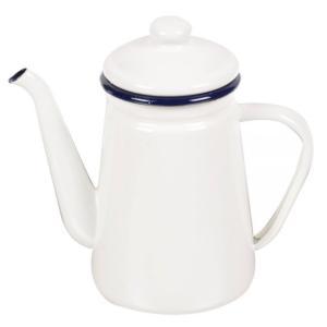 やかん ケトル ih フェスカ コーヒーポット 1.1L ホワイト  ホーローケトル サイズ:幅20...