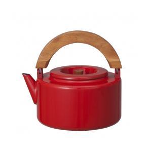 ケトル おしゃれ ih ノルディカ ホーローフラットケトル レッド 茶こし付 やかん 北欧風 かわいい