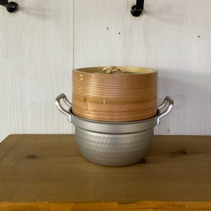 蒸し器 蒸し鍋 家庭用飲茶セット蒸し器 15cm アルミ円付鍋+杉 中華セイロ