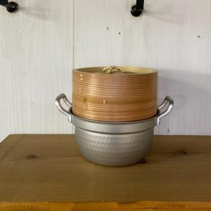 蒸し器 蒸し鍋 家庭用飲茶セット蒸し器 21cm アルミ円付鍋+杉 中華セイロ
