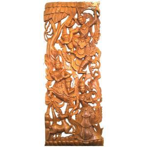 (在庫処分セール)格安インテリア壁掛け タイ木彫り レリーフ カービング壁掛け 特大90x35長 踊り子004|yakudo-engine