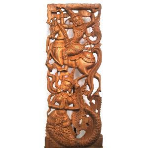 (在庫処分セール)格安インテリア壁掛け タイ木彫り レリーフ カービング壁掛け 特大90x35長 踊り子005|yakudo-engine