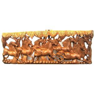 (特別セール)格安インテリア壁掛け タイ木彫り レリーフ カービング壁掛け 特大 90cmx35cm 長方形 馬012|yakudo-engine
