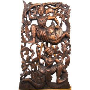[セール特価] 壁掛け 木彫り レリーフ 格安インテリアのカービング壁掛け 大 60cmx35cm 長方形 踊り子018|yakudo-engine