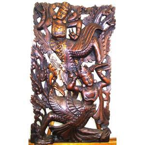 [セール特価] 壁掛け 木彫り レリーフ 格安インテリアのカービング壁掛け 大 60cmx35cm 長方形 踊り子019|yakudo-engine