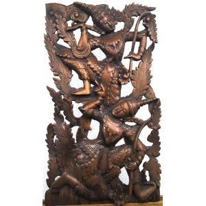 [セール特価] 壁掛け 木彫り レリーフ 格安インテリアのカービング壁掛け 大 60cmx35cm 長方形 踊り子017|yakudo-engine