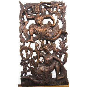 [セール特価] 壁掛け 木彫り レリーフ 格安インテリアのカービング壁掛け 大 60cmx35cm 長方形 踊り子021|yakudo-engine