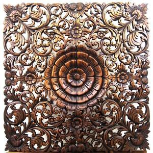 (夏休み特別セール)壁掛け 木彫り レリーフ 格安インテリアのカービング壁掛け 大 60cmx60cm 正方形 花025|yakudo-engine