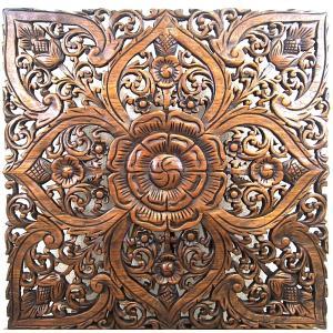 (夏休み特別セール)壁掛け 木彫り レリーフ 格安インテリアのカービング壁掛け 大 60cmx60cm 正方形 花027|yakudo-engine