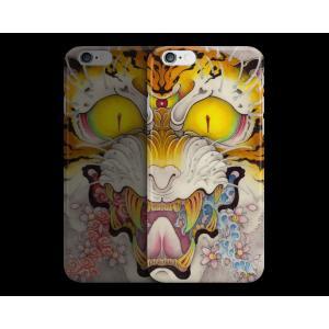 和柄iPhoneケース『虎面図 雲と波と桜』波版 iPhone7 / 6s / 6 用|yakudo-engine