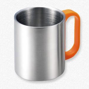 名入れOK♪ カラーハンドル 二重マグカップ(オレンジ)|yamabushi