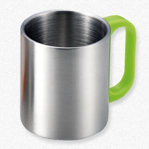 名入れOK♪ カラーハンドル 二重マグカップ(グリーン)|yamabushi