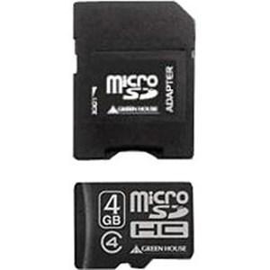 グリーンハウス GH-SDMRHC4G4 microSDHCカード(4GB/Class4対応/SD変換アダプタ付/防水仕様)|yamada-denki