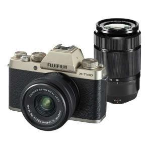 富士フイルム XT100-WZLKITG ミラーレス一眼カメラ 「X-T100」ダブルズームレンズキット(シャンパンゴールド)|yamada-denki