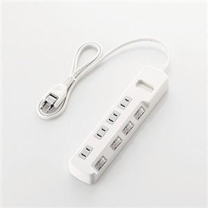 エレコム T-E5A-2420WH 個別スイッチ付 省エネタップ 2.0m ホワイト yamada-denki