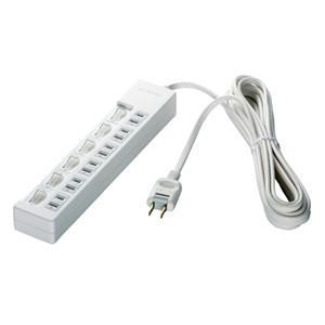 バッファロー BSTAPSW2620WH 2ピン式電源タップ 6個口タイプ 雷サージ防止/個別スイッチ付 2m ホワイト|yamada-denki