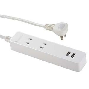 オーム電機 HS-TU23N80W USB付テーブルタップ 2個口 3m 白 yamada-denki