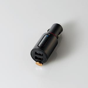 エレコム LAT-FMBTB03BK Bluetooth(R)FMトランスミッター(2.4A/2ポート/重低音) ブラック|yamada-denki