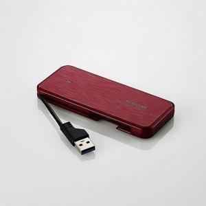 エレコム ESD-EC0120GRD ケーブル収納型外付けポータブルSSD 120GB レッド|yamada-denki