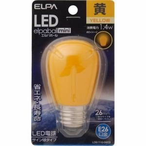 ELPA エルパ LED電球 「サイン球形」(黄色・口金E26)  LDS1Y-G-G903 yamada-denki