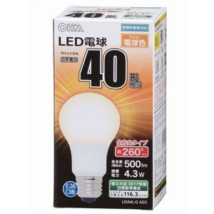 オーム電機 LDA4LGAG5(一般電球形・全光束500lm/電球色相当・口金E26) LED電球 yamada-denki