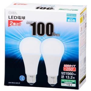 オーム電機 LDA13N-G-AG5-2P LED電球 100形相当 E26 昼白色 2個|yamada-denki