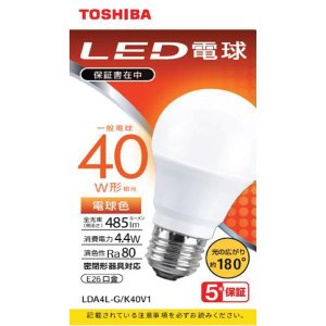 東芝 LDA4L-G/K40V1 LED電球 40W 電球色 E26<br>071