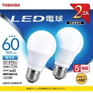 東芝 LDA7D-G/K60V1P LED電球 広配光 昼光色 60W形相当 2個入り|yamada-denki