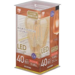 アイリスオーヤマ LDF4C-G-FK LEDフィラメント電球 E26口金 T形 40形相当 キャンドル色相当|yamada-denki