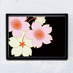 商品名:付箋ケース 桜花(黒)  本体サイズ:11.5cm×8.6cm×1.8cm 箱サイズ:11....