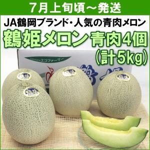 メロン JA鶴岡 鶴姫メロン 青肉4個(計5kg)|yamagata-kikou
