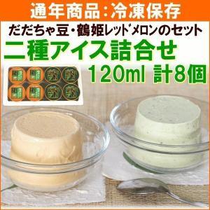 アイス JA鶴岡 二種アイス詰合せ(だだちゃ豆、鶴姫レッドメロン) 120ml×計8個 送料込 yamagata-kikou