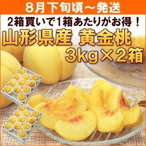 もも 桃 8月下旬頃から発送・山形県寒河江市産「黄金桃」 秀品3kg(8〜11個)×2箱|yamagata-kikou