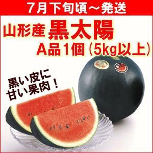 すいか 送料無料 山形県 村山市 奥山さんの 黒皮すいか 5kg 1玉 A品|yamagata-kikou