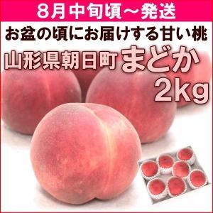 硬い桃 送料無料 山形県産 白桃 まどか 2kg (6〜8玉) 秀品|yamagata-kikou
