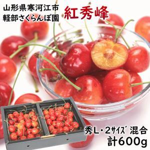 さくらんぼ 紅秀峰 ギフト 6月下旬頃から発送・軽部名人作「大粒紅秀峰」 300g×2パック(秀品2Lサイズ) バラ詰 yamagata-kikou