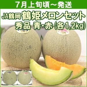 メロン JA鶴岡 鶴姫メロンセット (青肉・赤肉 各1,2kg) 計2個|yamagata-kikou