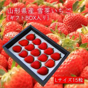 雪芽いちご(Lサイズ×15粒)[ギフトBOX入]<1月上旬頃より発送>箱入|yamagata-umaies