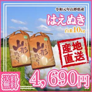 (令和元年産米随時発送)(送料無料)山形県産はえぬき白米10kg(5kg×2) 【安全で確かなものを...