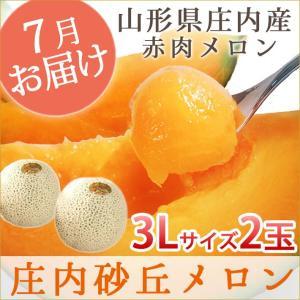 メロン  送料無料 山形県庄内産赤肉メロン 秀3L 2玉(赤肉)|yamagatamaru