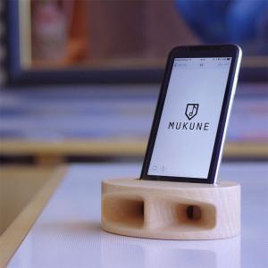 iphone スピーカー MUKUNE 木製 無電源 スピーカー ブナ(白系)|yamagatamaru