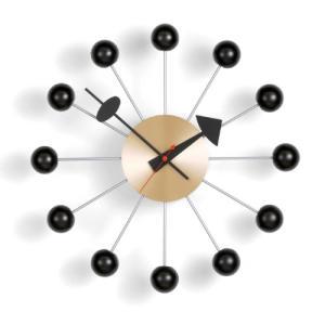 Vitra(ヴィトラ)「Ball Clock(ボール クロック)」ブラック/ブラス|yamagiwa