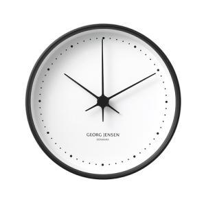 北欧デザイン|ジョージ ジェンセン 「コッペル・ウォールクロック φ150」ブラックフレーム/ホワイトダイヤル|yamagiwa