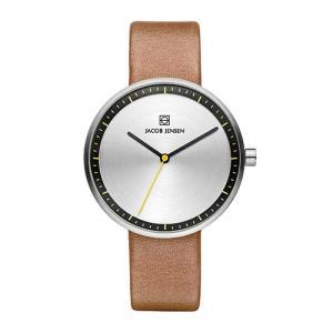 Jacob Jensen(ヤコブ・イェンセン)腕時計 Strata(ストラタ) O36シルバーケース×ブラウンレザー|yamagiwa