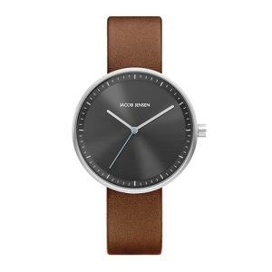 Jacob Jensen(ヤコブ・イェンセン)腕時計 Strata(ストラタ) O36グレーケース×ブラウンレザー|yamagiwa
