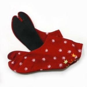 足袋 柄足袋 紅葉足袋 紅色|yamaki