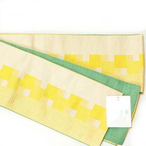 半幅帯 レディース リバーシブル 浴衣帯 川栄李奈 日本製 オールシーズン ポリエステル 黄色×黄緑 yamaki