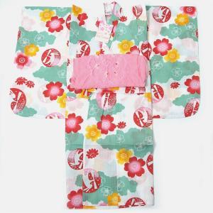 子供浴衣 女の子 110cm 5〜6才 2点セット ViVi Sienne|yamaki
